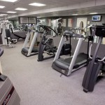 Boardwalk Plaza Hotel fitness center with modern treadmills and elliptical machines